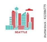 seattle city architecture retro ... | Shutterstock .eps vector #412386775