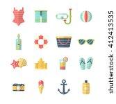 beach icon set. flat design... | Shutterstock .eps vector #412413535