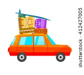 cartoon red car with a lot of... | Shutterstock .eps vector #412427005