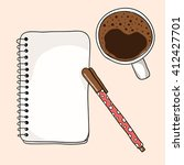 coffee cup  notebook and pen on ... | Shutterstock .eps vector #412427701