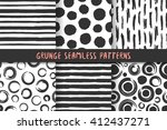 set of six black white stylish... | Shutterstock .eps vector #412437271