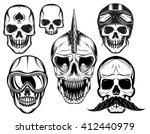 a set of six different skulls...