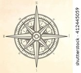 wind rose. hand drawn vector... | Shutterstock .eps vector #412445059
