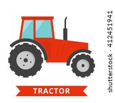 Red Tractor Icon. Agriculture...