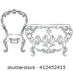 fabulous rich rococo furniture... | Shutterstock .eps vector #412452415