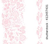Vector doodle seamless borders with flowers and leaves.