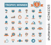 trophy winner icons  | Shutterstock .eps vector #412461325