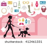 woman with dog shopping in the... | Shutterstock .eps vector #412461331