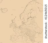 old map of europe   contour... | Shutterstock . vector #412465015