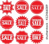 weekend sale red label. weekend ... | Shutterstock .eps vector #412466089