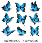 Stock vector set of beautiful blue butterflies vector 412492885