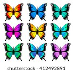 set of beautiful colorful... | Shutterstock .eps vector #412492891