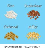 millet  buckwheat  oatmeal ...   Shutterstock .eps vector #412494574