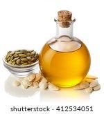 bottle of pumpkin seed oil... | Shutterstock . vector #412534051