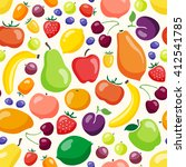 colorful fruits and vegetables... | Shutterstock .eps vector #412541785