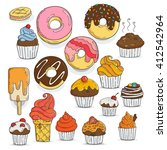 set of candy and muffins icons. ... | Shutterstock .eps vector #412542964