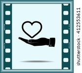 heart on hand sign icon  vector ... | Shutterstock .eps vector #412553611