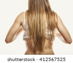 slim thin woman girl with long... | Shutterstock . vector #412567525