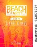 summer beach party flyer vector ... | Shutterstock .eps vector #412578739