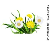 dandelion  green grass  yellow... | Shutterstock .eps vector #412582459