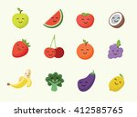 happy smiling cartoon fruits... | Shutterstock .eps vector #412585765