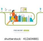 running woman. modern flat... | Shutterstock . vector #412604881