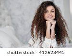 portrait of beautiful girl with ... | Shutterstock . vector #412623445