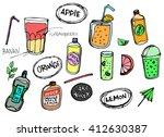 vector set of hand drawn fresh... | Shutterstock .eps vector #412630387