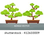 bonsai two style in pot | Shutterstock .eps vector #412633009