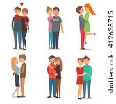 boys and girls  couple in love. ... | Shutterstock . vector #412638715