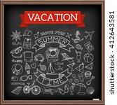 vacation doodles on chalk board.... | Shutterstock .eps vector #412643581