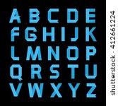 alphabet .paper blue ribbon... | Shutterstock . vector #412661224