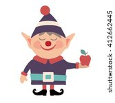little smiling elf with an apple | Shutterstock .eps vector #412662445