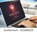 Small photo of Fraud Alert Caution Defend Guard Notify Protect Concept