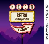 neon retro roadside sign with... | Shutterstock . vector #412681159