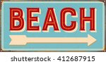 Vintage Metal Sign   Beach  ...