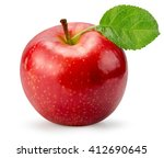 red apple isolated on the white ... | Shutterstock . vector #412690645