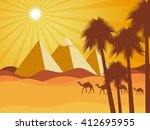 egyptian pyramids in the desert.... | Shutterstock .eps vector #412695955