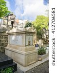 Small photo of PARIS, FRANCE-APRIL 28, 2016: Marie Duplessis' grave in the Montmartre Cemetery. As a courtesan, she was the inspiration for the main character of La Dame aux Camelias by Alexandre Dumas the younger.