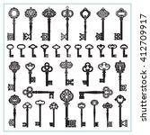 antique keys silhouettes | Shutterstock .eps vector #412709917