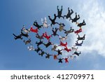 skydiving large group formation | Shutterstock . vector #412709971