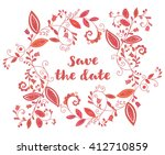 red greeting or save the date... | Shutterstock .eps vector #412710859