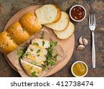 garlic bread with fried chicken ... | Shutterstock . vector #412738474