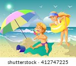 vector illustration. on a sunny ... | Shutterstock .eps vector #412747225