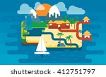 paradise island  colorful cute... | Shutterstock . vector #412751797