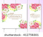 invitation with floral... | Shutterstock .eps vector #412758301