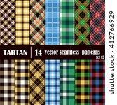 set tartan seamless pattern....   Shutterstock .eps vector #412766929
