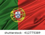 Flag Of Portugal Waving In The...