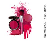 cosmetic pink fashion theme | Shutterstock . vector #412818691