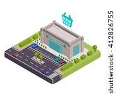 isometric supermarket vector... | Shutterstock .eps vector #412826755